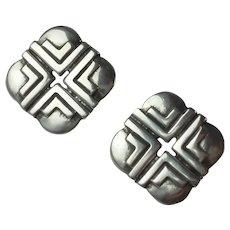Vintage Sterling Silver Native American Pierced Earrings