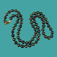 Vintage Peacock Freshwater Pearl Necklace-14K Gold Clasp