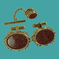 Vintage Sherman Senator Goldstone Cufflinks & Tie Pin Set