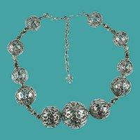 Vintage Coro Vendome Filigree Balls Necklace