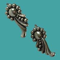 Vintage Mexican Sterling Silver Scroll Design Screw Back Earrings