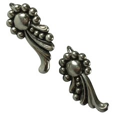 Vintage Mexican Sterling Silver Scroll Design Screw Back Earrings