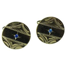 Vintage Gold Filled Blue Gemstone Cufflinks