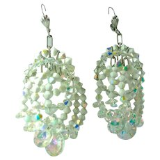 Vintage Crystal Bead Aurora Borealis Statement Earrings