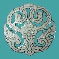 Vintage Sterling Siam White Enamel Brooch
