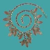 Vintage Juliana Frosted Pink Aurora Borealis Rhinestone Necklace