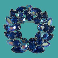 Vintage Blue Crystal Rhinestone Wreath Brooch