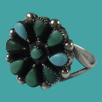 Vintage Native American Zuni Turquoise Sterling Silver Flower Ring