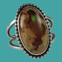 Vintage Mexican Matrix Fire Opal Silver Ring