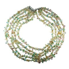 Freshwater Cultured Pearl Rock Crystal Bead Five Strand Statement Necklace