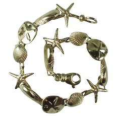 Vintage 14k Italian Yellow Gold Sea Theme Bracelet