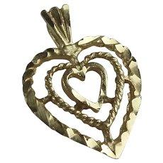 Vintage 10K Yellow Gold Heart Pendant