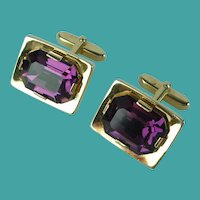 Vintage Purple Crystal Gold Tone Cufflinks