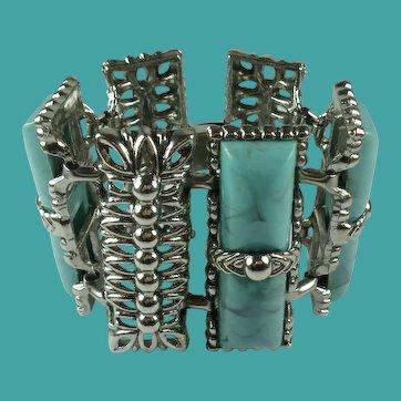 Vintage Blue Thermoset Plastic Wide Statement Bracelet