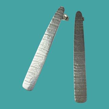 Vintage Sterling Silver Long Bar Earrings