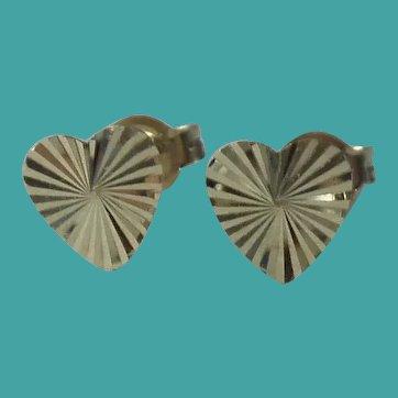 Vintage 10k Gold Heart Pierced Earrings