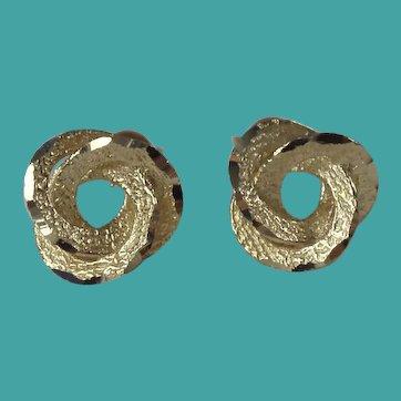 Vintage 10k Gold Love Knot Pierced Earrings