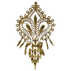 Vintage Gold Tone Mehndi Design Pendant/Brooch with Chain