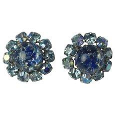 Vintage Blue Foiled Art Glass Rhinestone Flower Clip Earrings