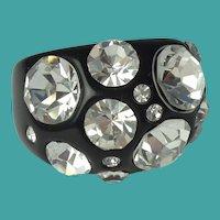 Vintage Black Lucite Clear Rhinestone Ring