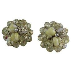 Vintage 1960s Coro Vendome Yellow Crystal Bead Clip Earrings
