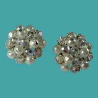 Vintage 1960s Laguna Crystal Bead Faux Pearl Clip Earrings