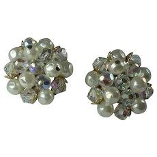 Vintage 1960s Laguna Crystal Bead Faux Pearl Clip Earrings