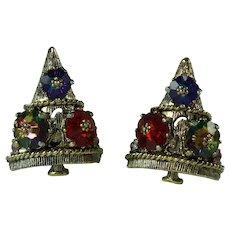Vintage Weiss Margarita Rhinestone Christmas Tree Clip-on Earrings