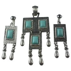 Vintage 1970s Sarah Coventry Folklore Pendant and Earrings Set