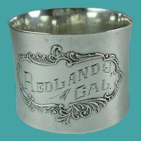 Antique Sterling Silver Redlands California Napkin Ring