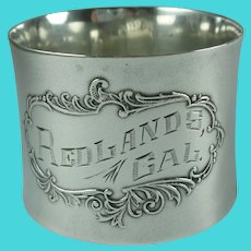 Antique Sterling Silver Redlands California Napkin Ring