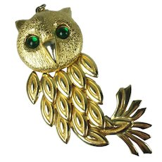 Vintage Large Gold Tone Articulated Owl Pendant