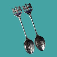 Pair of 1961 Sterling Silver Turner and Simpson London Souvenir Spoons