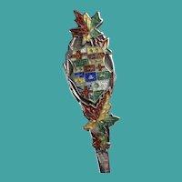 Vintage Enamelled Maple Leaves Sterling Souvenir Spoon