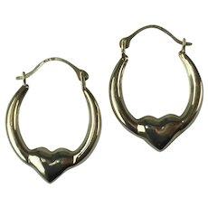 Vintage 10 Kt Gold Hoop Heart Pierced Earrings
