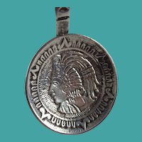Vintage Sterling Silver Mexico Aztec Design Souvenir Spoon