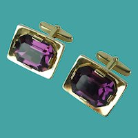 Vintage MId-Century Purple Faceted Crystal Glass Cufflinks