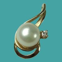 Vintage Diamond Cultured Pearl Yellow Gold Pendant