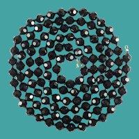 Vintage Black Crystal Bead Flapper Length 53 Inch Necklace
