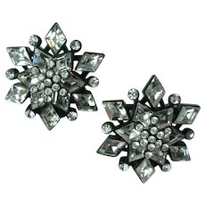 Vintage Designer Crystal Rhinestone Snowflake Clip Earrings