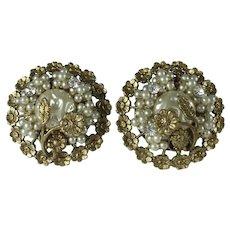 Vintage 1930s Imitation Seed Pearl Metal Flower Clip on Earrings