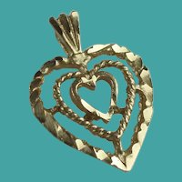 Vintage 10K Yellow Gold Heart Pendant