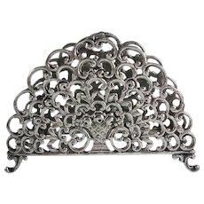 Antique 800 Silver Letter Holder Flower Basket Motif Signed HA