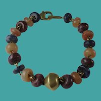 Vintage 1980s Columbian Semi Precious Stones 24k Gold Plated Bracelet Galeria Cano