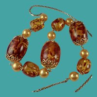 Vintage Faux Amber Faux Pearl Chunky Bead Necklace