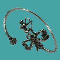 Vintage Sterling Silver Jamaica West Indies Cupid Cuff Bangle Bracelet