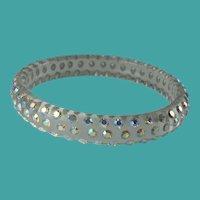 Vintage Lucite Aurora Borealis Rhinestone Clear Bangle Bracelet