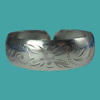 Vintage Baby Etched Sterling Silver Cuff Bracelet
