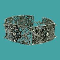 Vintage Silver Filigree Panel Bracelet