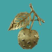 Vintage 1960s Crown Trifari Gold-Tone Strawberry Brooch